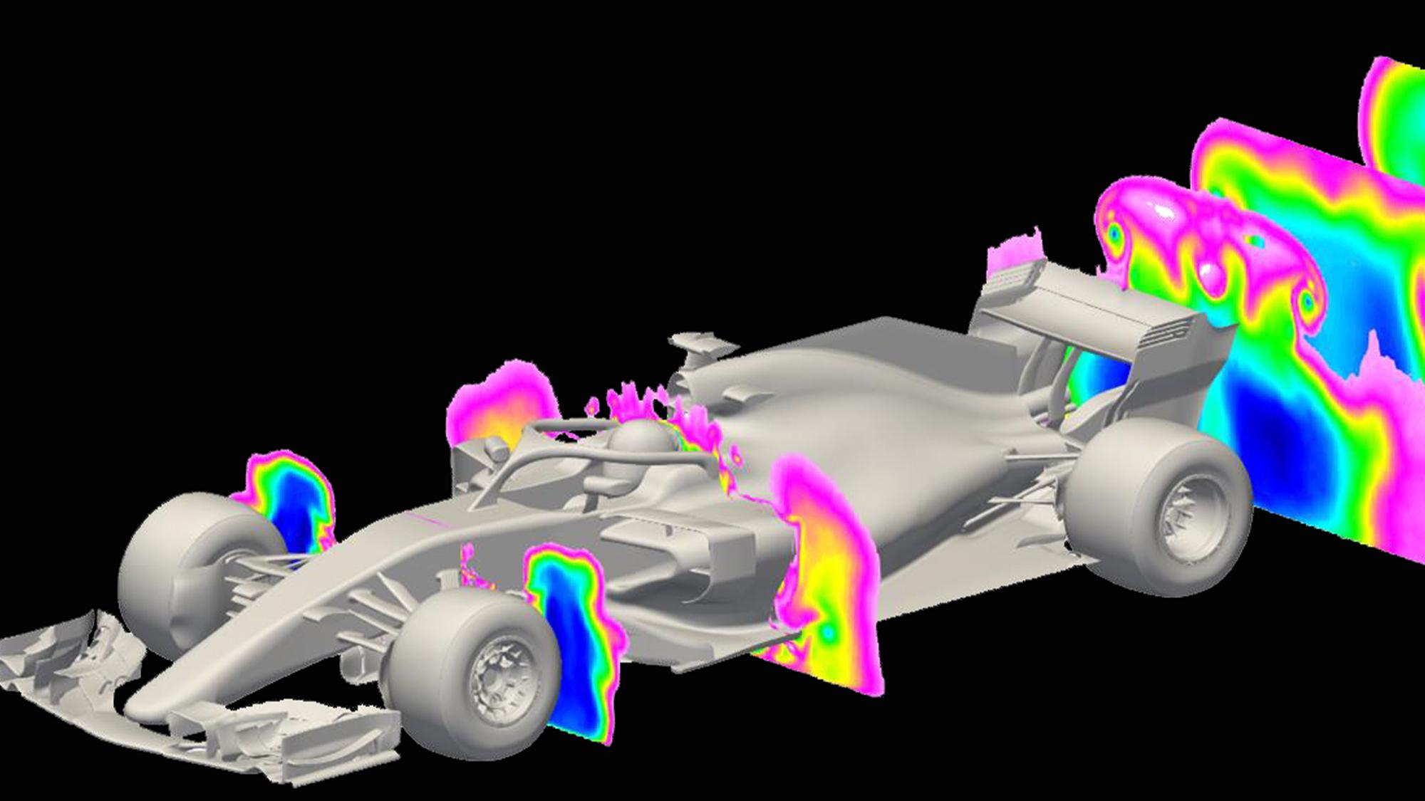 Aero wake on a 2018 F1 car
