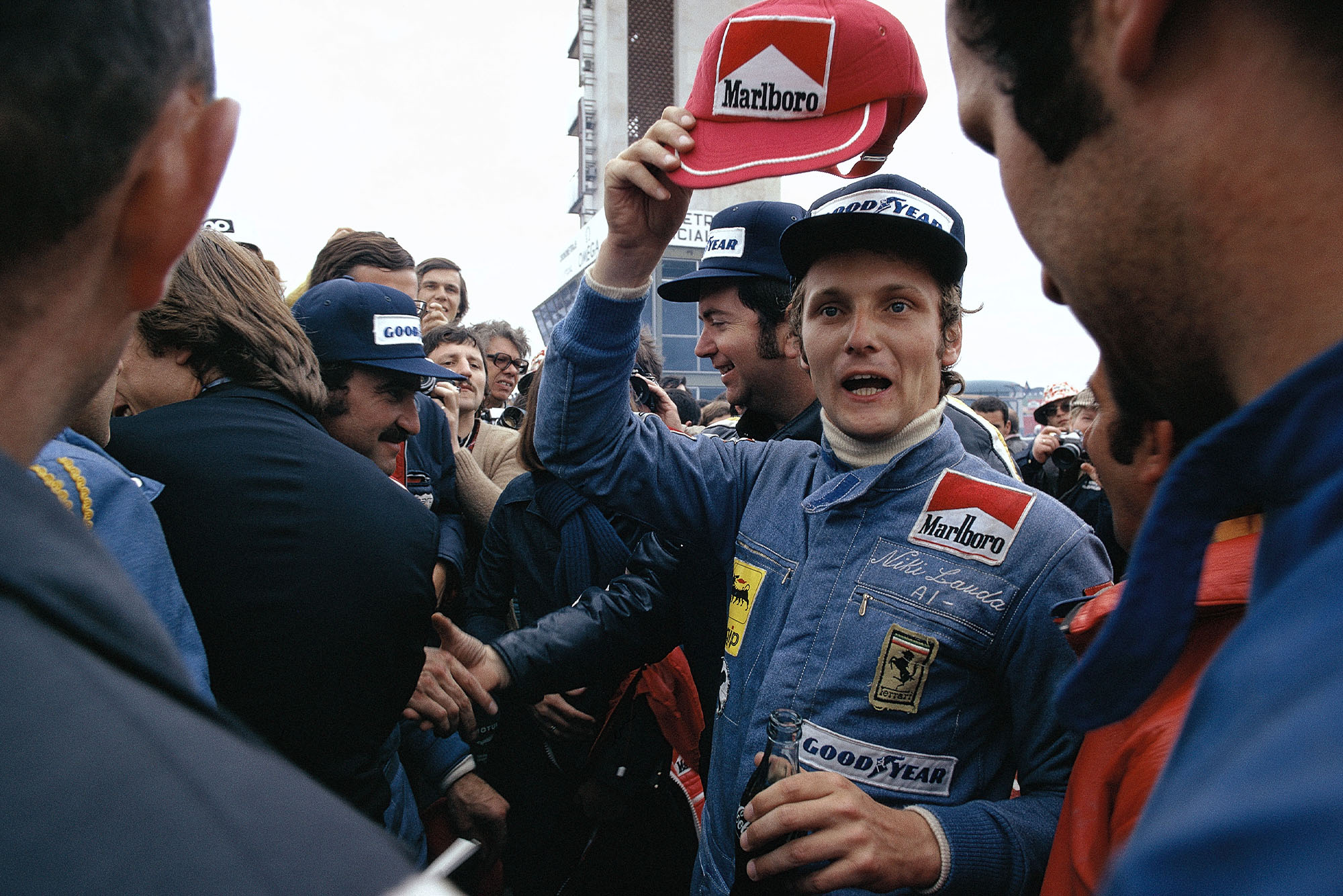 Niki Lauda (Ferrari) celebrates winning the 1974 Spanish Grand Prix
