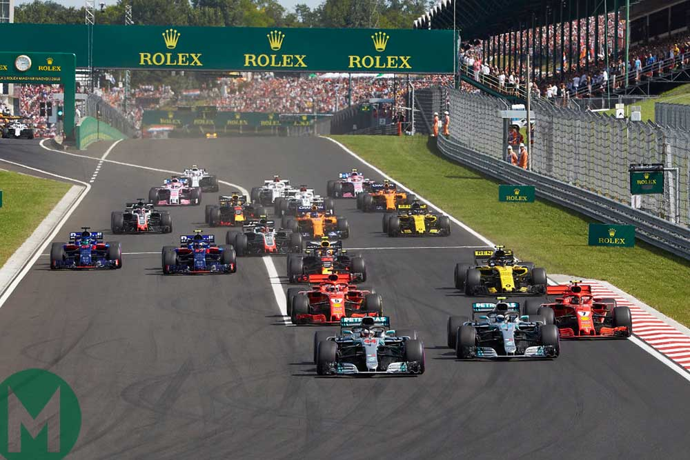 Lewis Hamilton leads in his Mercedes at the start of the 2018 Hungarian Grand Prix