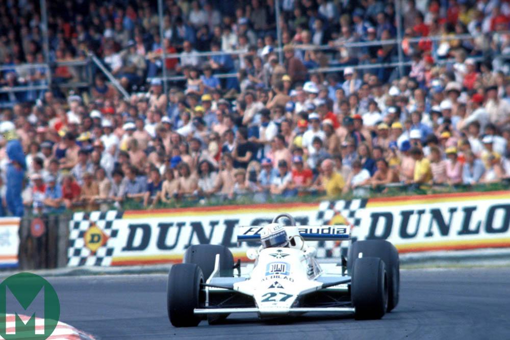 Alan Jones in the Williams during the 1979 British Grand Prix