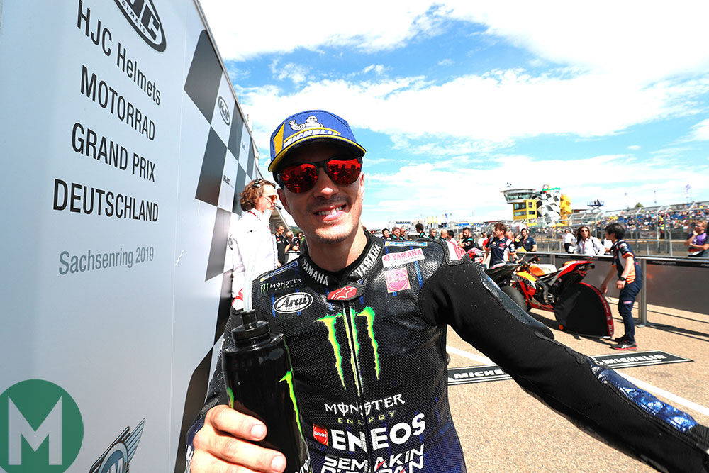 Maverick Viñales celebrates after the Sachsenring race