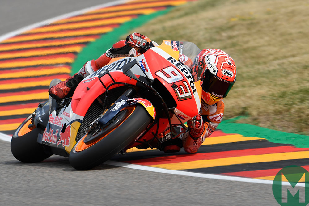 Marc Marquez leaning at the 2019 MotoGP Sachsenring