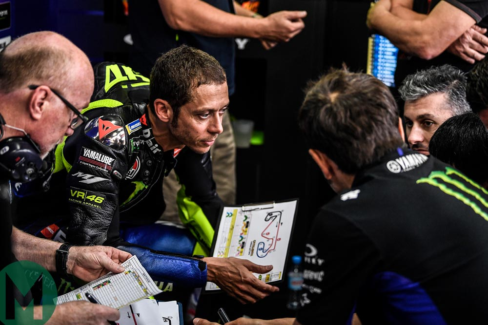 Valentino Rossi in a Yamaha team debrief