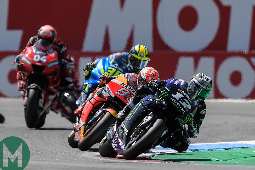 Maverick Vinales at the head of the pack in the 2019 MotoGP Assen TT