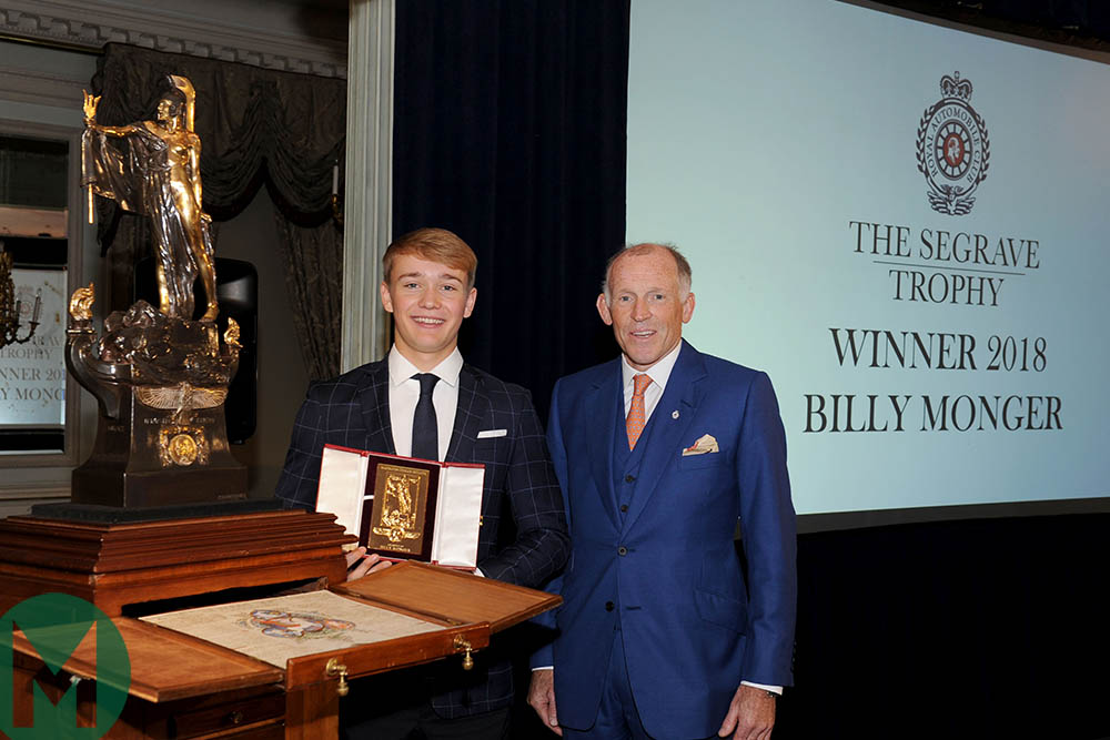 Billy Monger becomes youngest recipient of RAC's Segrave Trophy