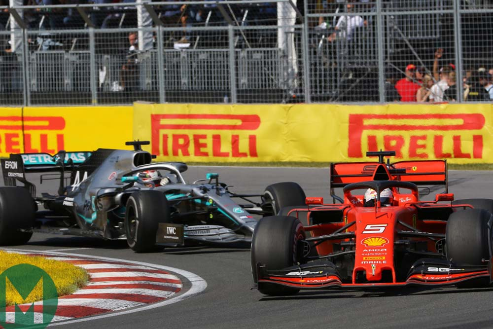 Sebastian Vettel and Lewis Hamilton battle it out for victory at the 2019 Canadian Grand Prix