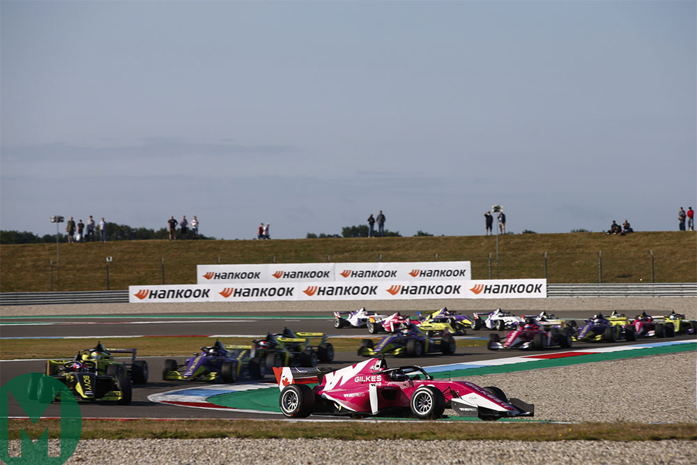 Megan Gilkes leads the chasing pack at Assen in the W Series reverse grid race