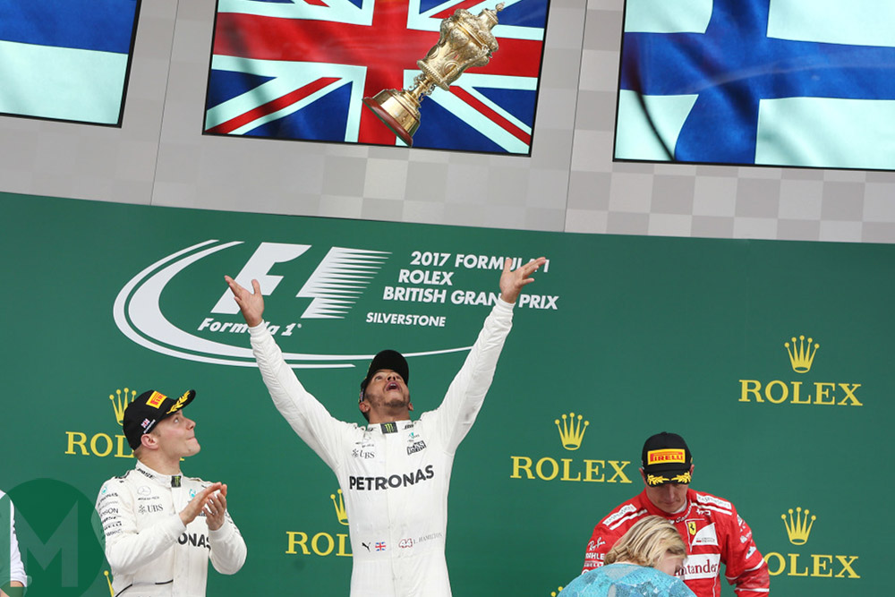 Lewis Hamilton on the top step of the podium at the 2017 British Grand Prix