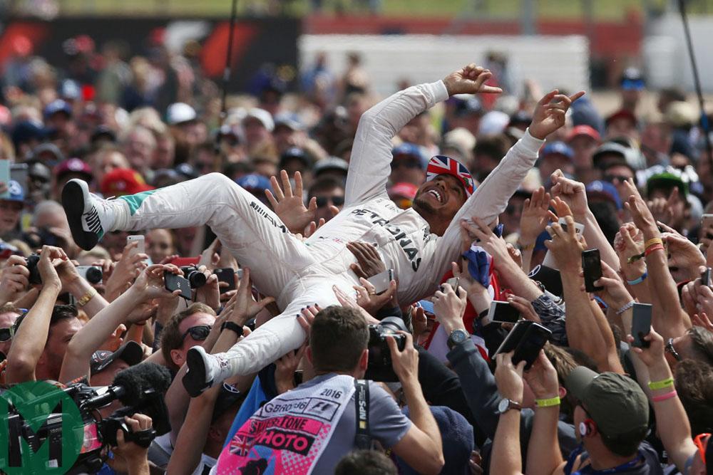 Lewis Hamilton crowd surfing after winning the 2016 British Grand Prix at Silverstone