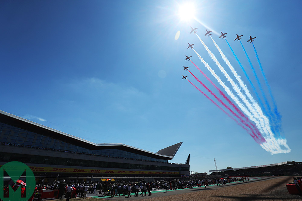 Red Arrows over Silverstone at the British Grand Prix