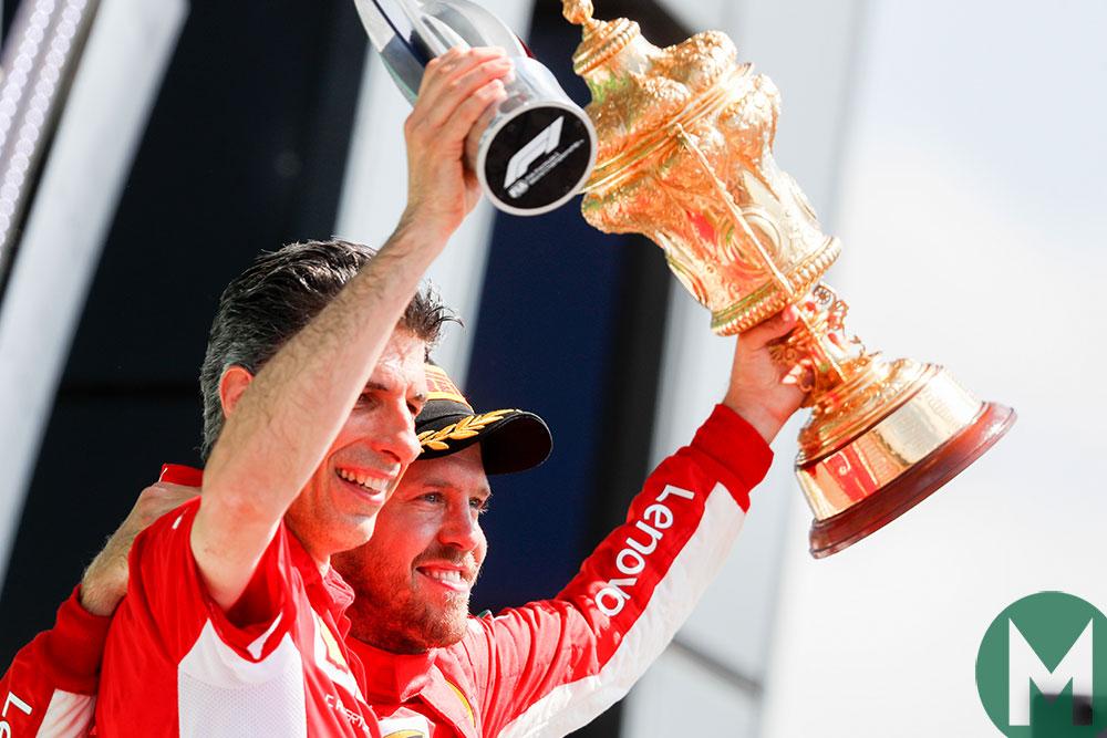 Sebastian Vettel celebrates 2018 British Grand Prix victory