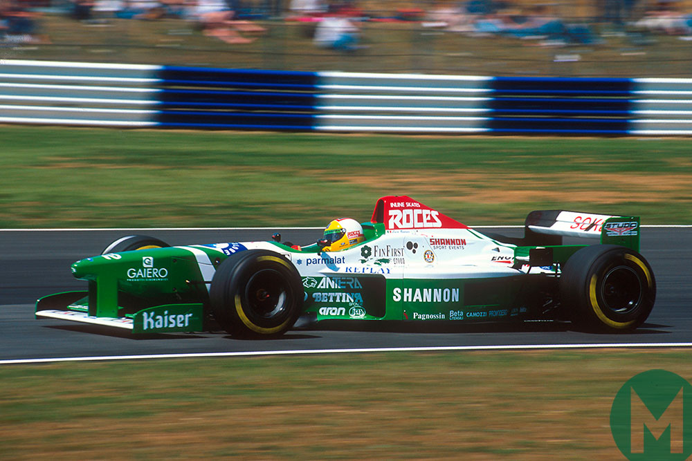 Luca Badoer in a Shannon-sponsored Forti at Silverstone in 1996