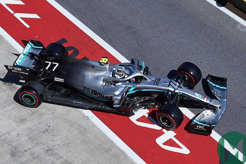 Overhead view of Valtteri Bottas' Mercedes at the 2019 Austrian Grand Prix