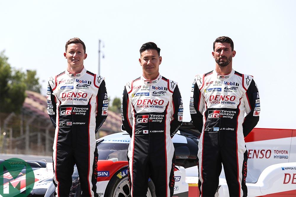 Mike Conway, Kamui Kobayashi and José Maria López at the World Endurance Championship Prologue