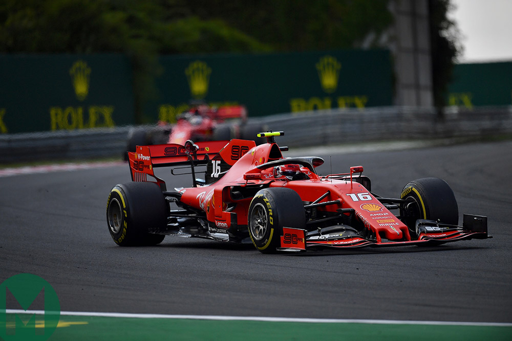 Charles Leclerc ahead of Sebastian Vettel at the 2019 Hungarian Grand Prix