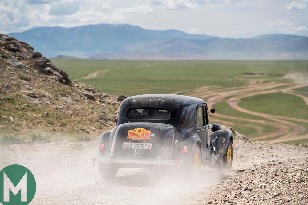 2019 Peking to Paris rally - Famous engine designer Mario Ilien and daughter Noele compete in their Citroën 11B