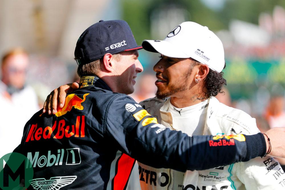 Max Verstappen congratulates Lewis Hamilton after the 2019 Hungarian Grand Prix