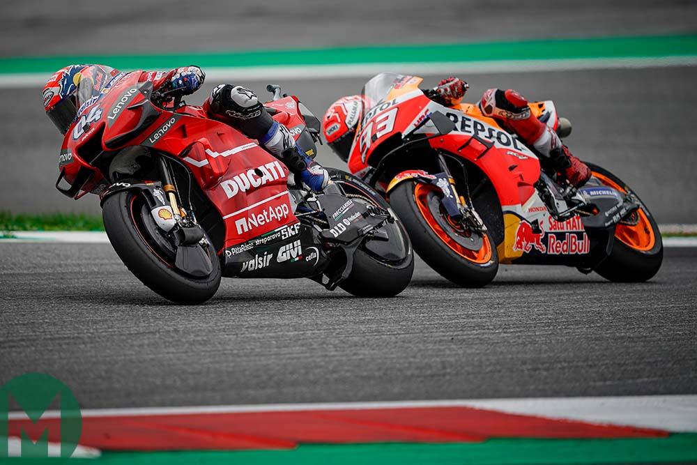 Andrea Dovizioso leads Marc Marquez at the 2019 MotoGP Austrian Grand Prix