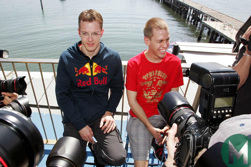 Toro Rosso drivers Sebastien Bourdais and Sebastian Vettel ahead of the 2008 Australian Grand Prix