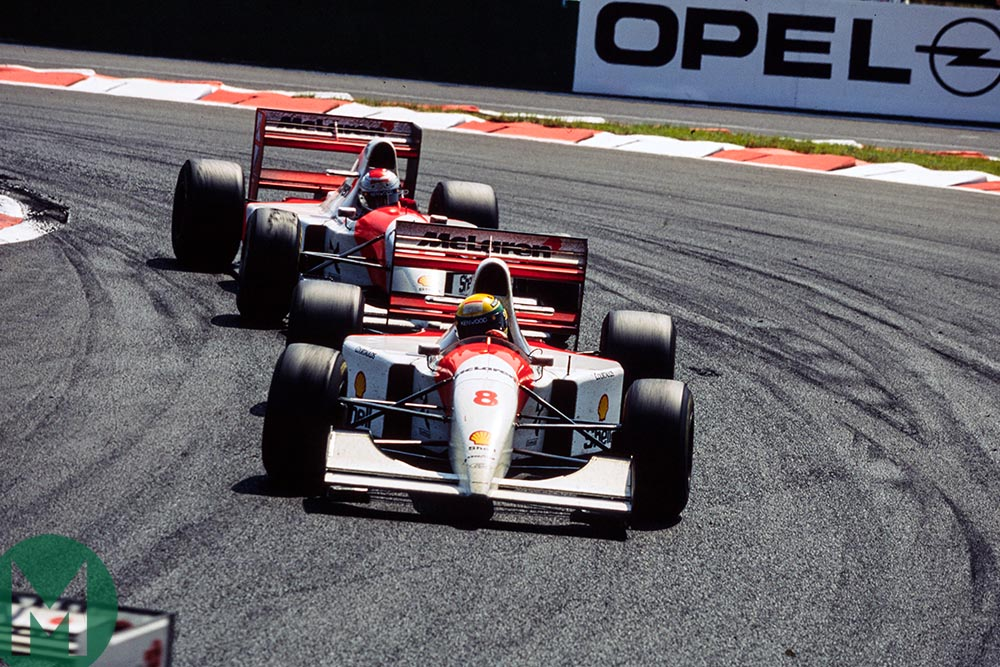 Ayrton Senna leads Michael Andretti at the 1993 French Grand Prix
