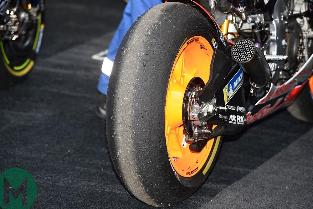 Marc Marquez tyre after the 2019 MotoGP British Grand Prix