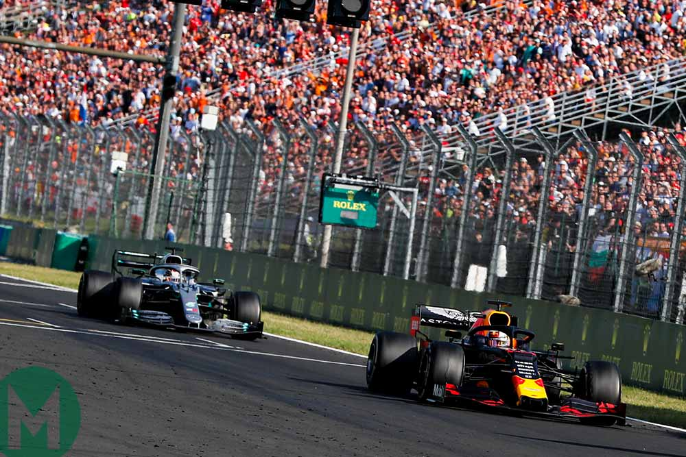 Lewis Hamilton chases down Max Verstappen at the 2019 Hungarian Grand Prix