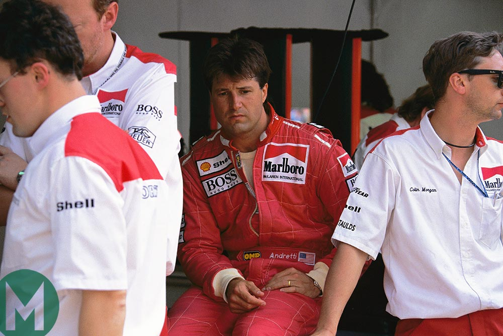 Michael Andretti in the McLaren pits during the 1993 F1 season