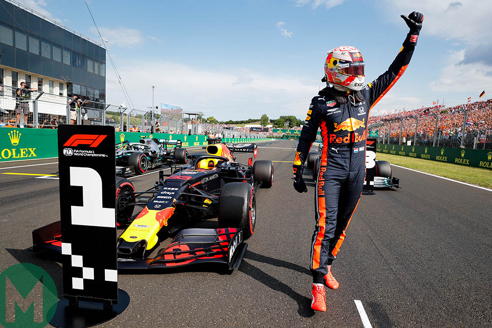 Max Verstappen celebrates his first pole position at the 2019 Hungarian Grand Prix