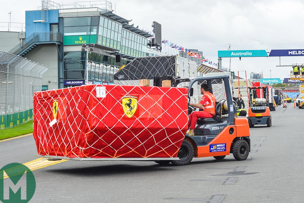 Ferrari unpacking at the 2018 F1 Australian Grand Prix