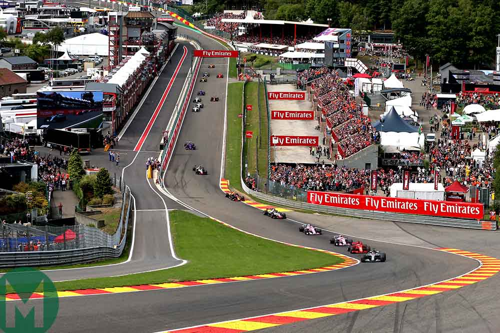 Lewis Hamilton leads the start of the 2018 Belgian Grand Prix
