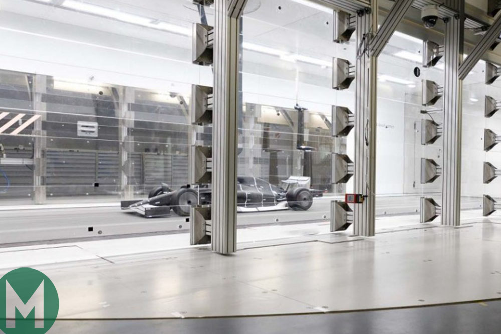F1 car built to the proposed 2021 regulations is tested in a wind tunnel