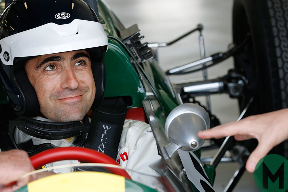 Dario Franchitti in a Lotus 25 taking part in the legends parade at the 2014 British Grand Prix