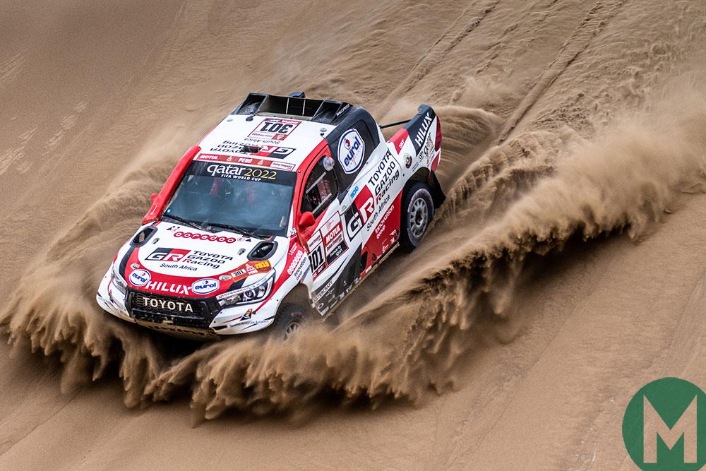 Nasser Al-Attiyah in a Toyota Hilux on the way to winning the 2019 Dakar Rally