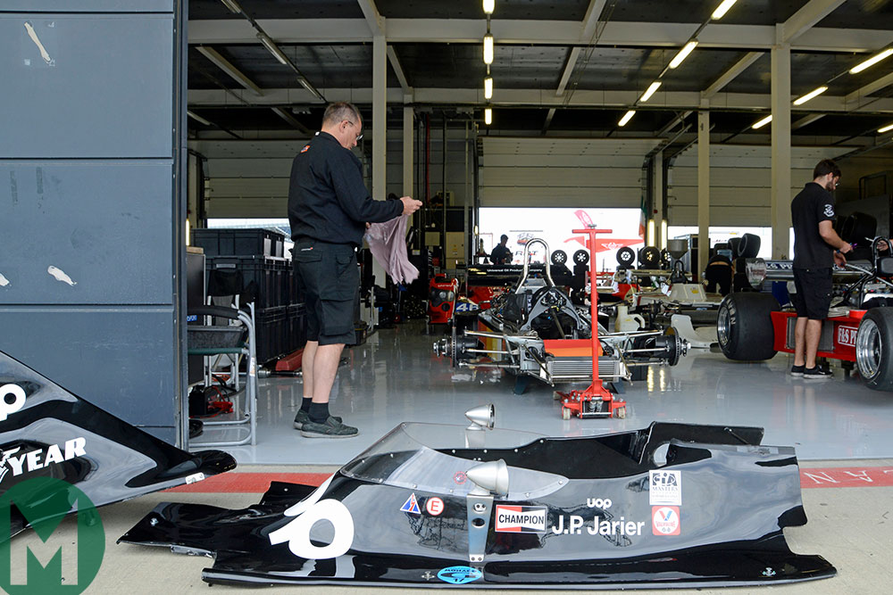 A scene from the Silverstone Classic paddock, including a classic 1970s F1 Shadow