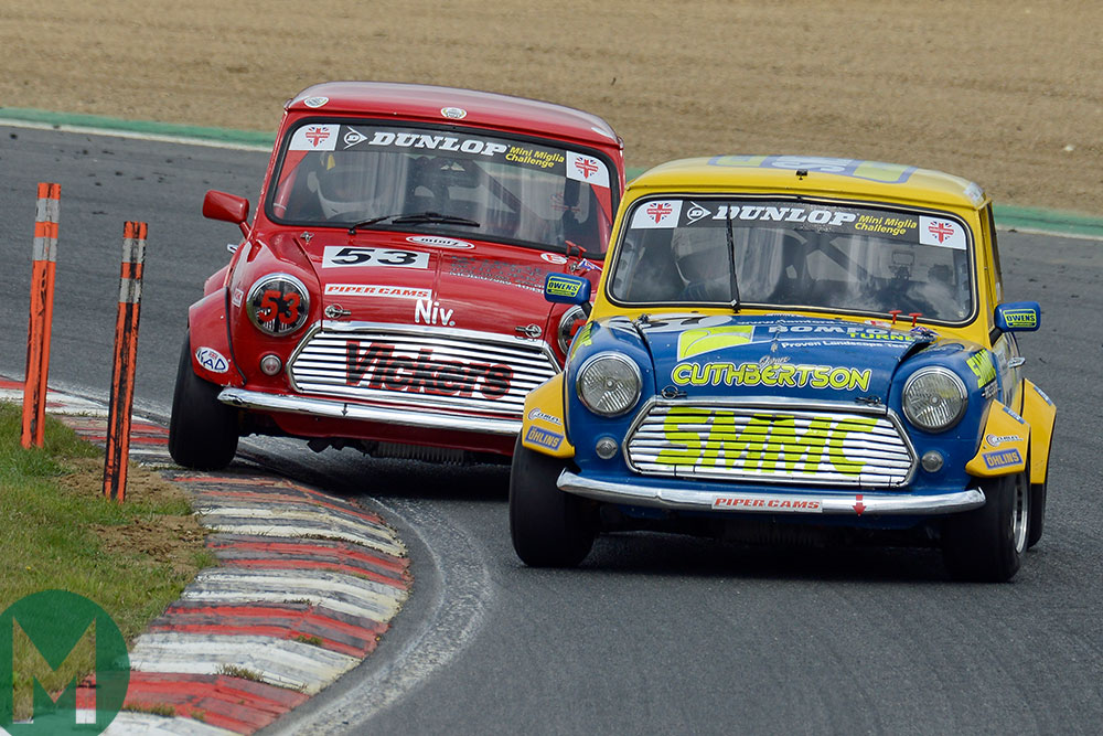 James Cuthbertson and Niven Burge battle at Brands in the Mini Miglia Championship