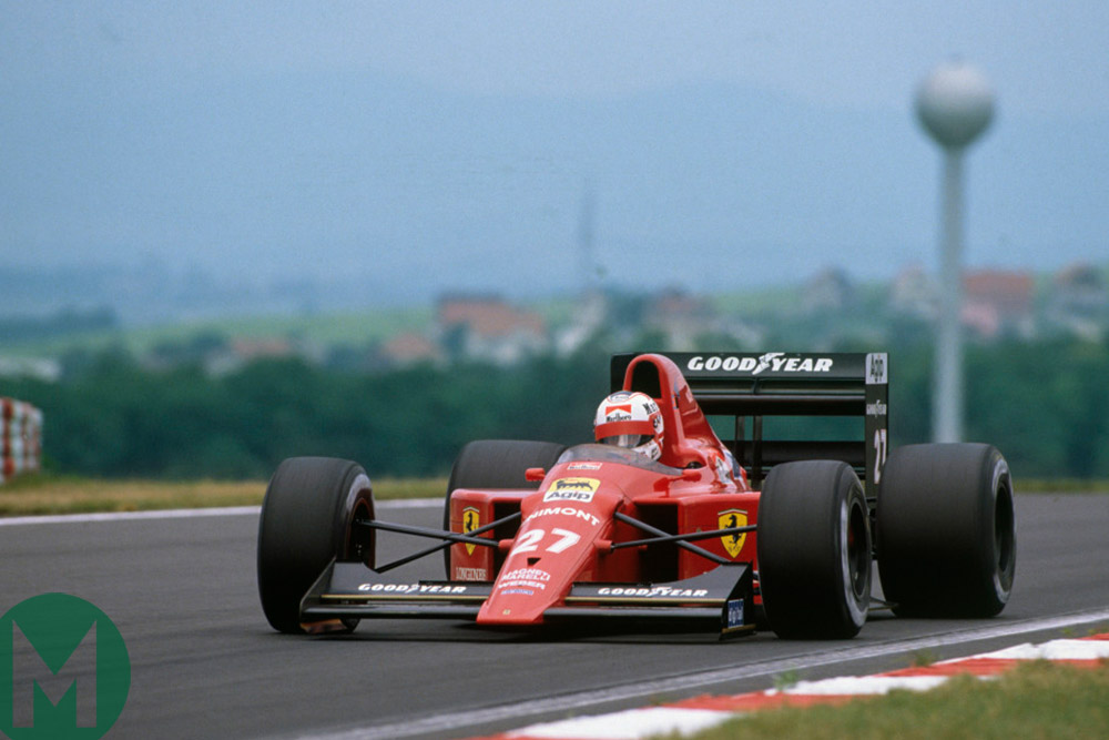 Nigel Mansell on the way to magnificent victory in the 1989 Hungarian Grand Prix in his Ferrari