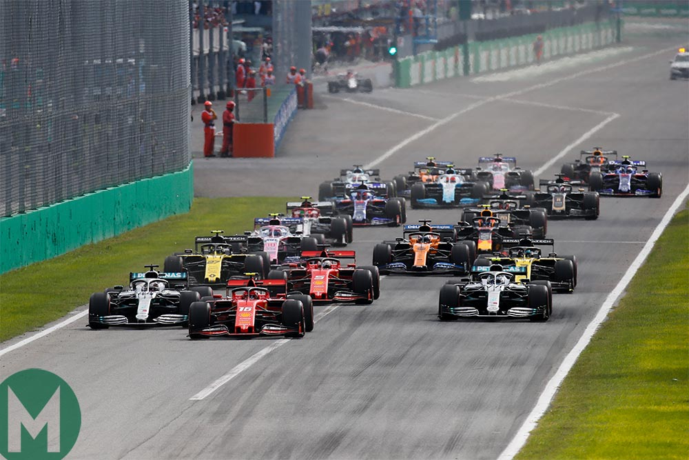 Charles Leclerc leads at the start of the 2019 Italian Grand Prix