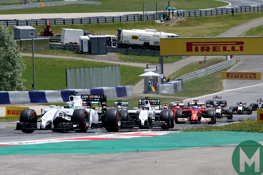 Williams lead the field at the start of the 2014 Austrian Grand Prix