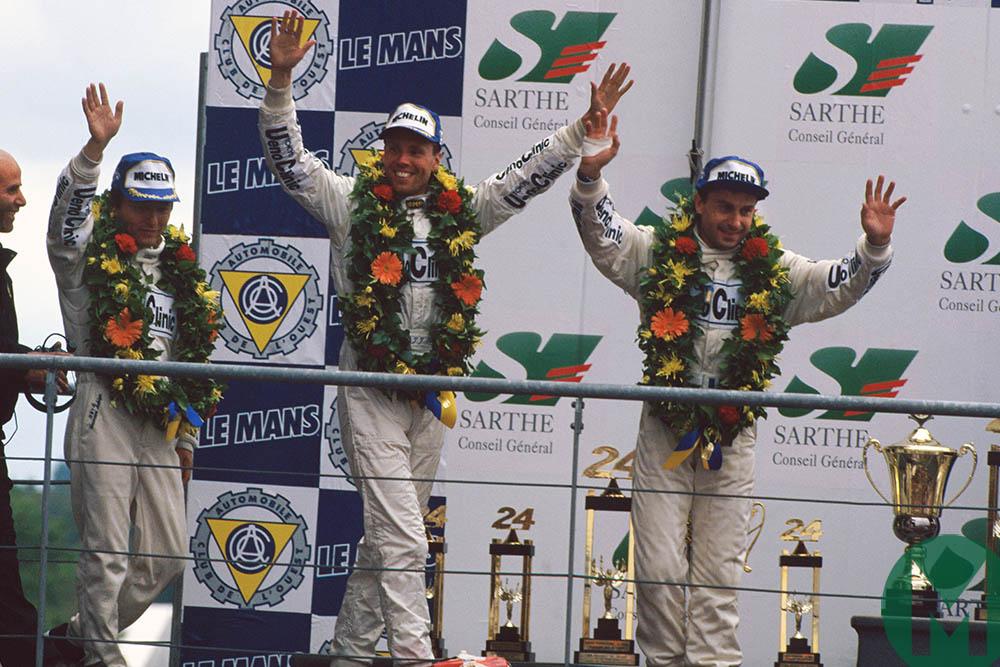 Yannick Dalmas, JJ Lehto and Masanori Sekiya on the podium after winning the 1994 Le Mans 24 Hours