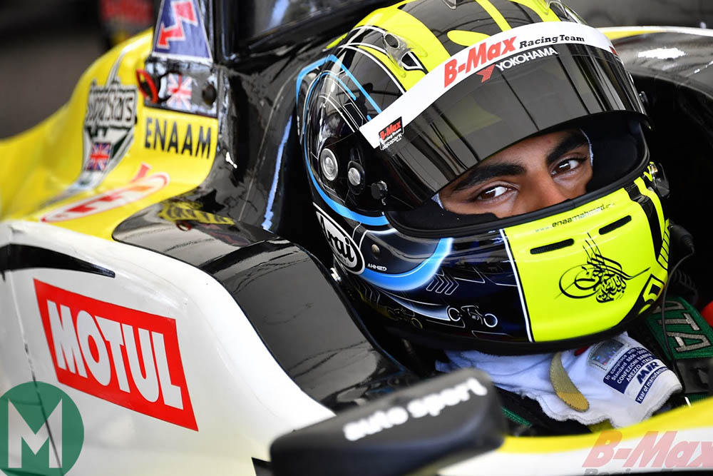 Enaam Ahmed in 2019 with B-Max Racing