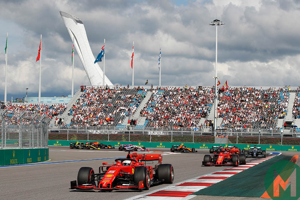 Sebastian Vettel pulls away from Charles Leclerc while leading in the early stages of the 2019 F1 Russian Grand Prix