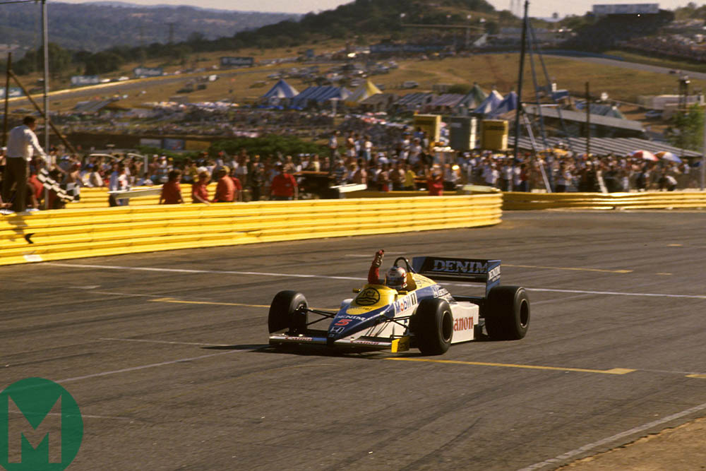 Nigel Mansell wins the 1985 South African Grand Prix