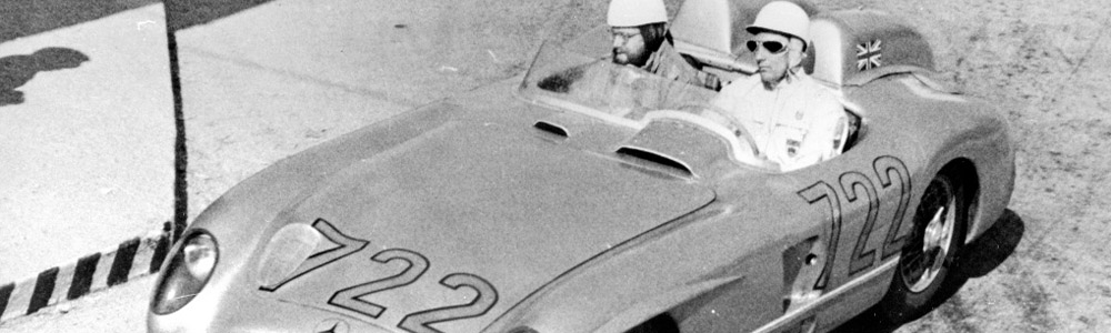 Stirling Moss and Denis Jenkinson in the Mercedes during the 1955 Mille Miglia