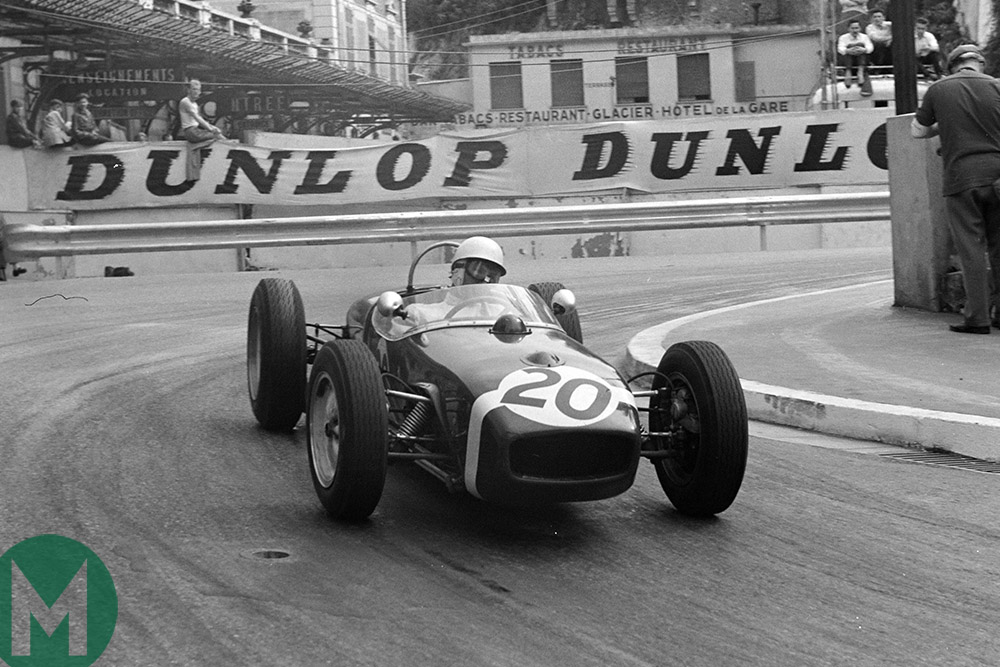 Stirling Moss driving at the 1961 Monaco Grand Prix