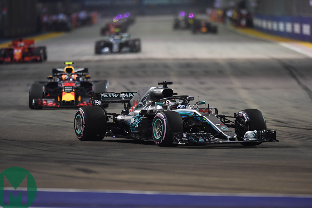 Lewis Hamilton leads the 2018 Singapore Grand Prix