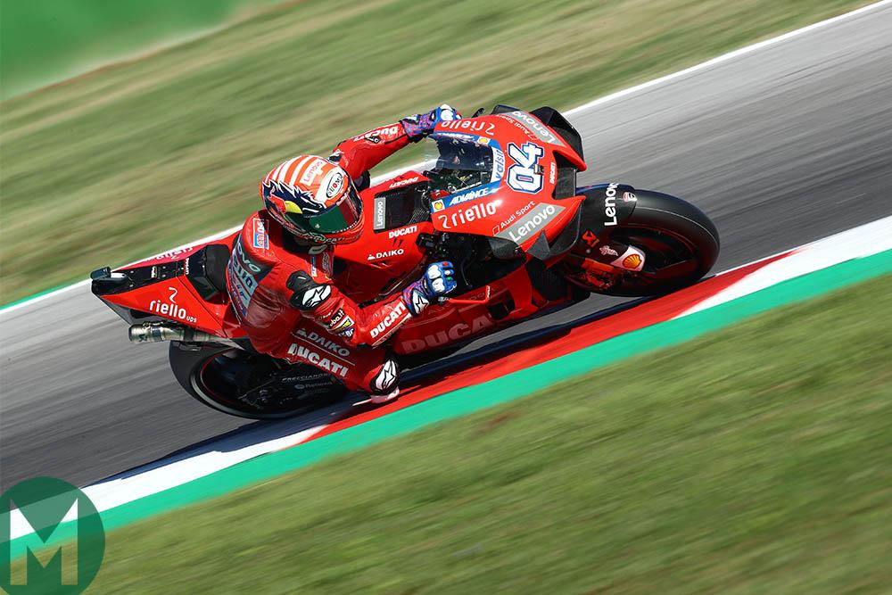 Andrea Dovizioso riding his Ducati at Misano