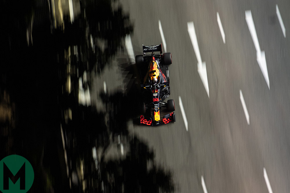 Overhead shot of Max Verstappen with during qualifying for the 2019 F1 Singapore Grand Prix