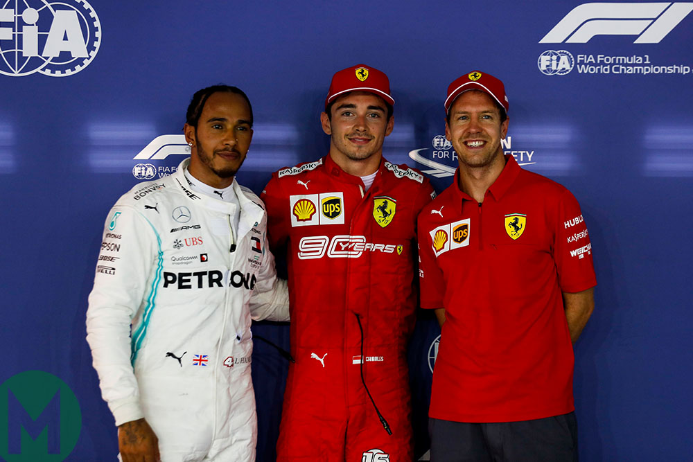Charles Leclerc, Lewis Hamilton and Sebastian Vettel, the three top qualifiers for the 2019 Singapore Grand Prix