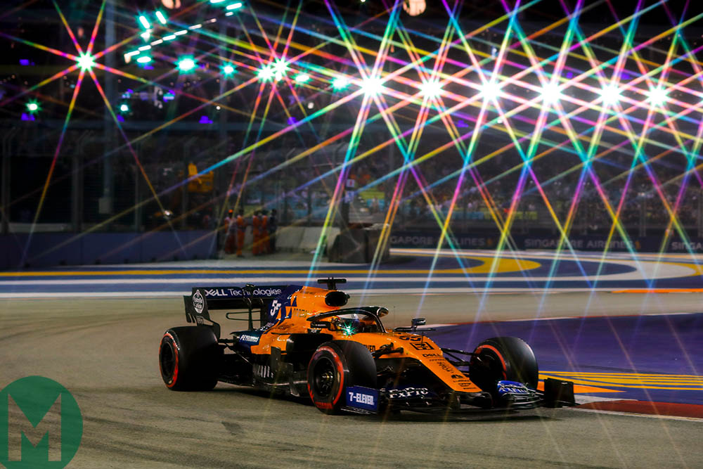 Carlos Sainz under the Marina Bay floodlights during qualifying for the 2019 F1 Singapore Grand Prix