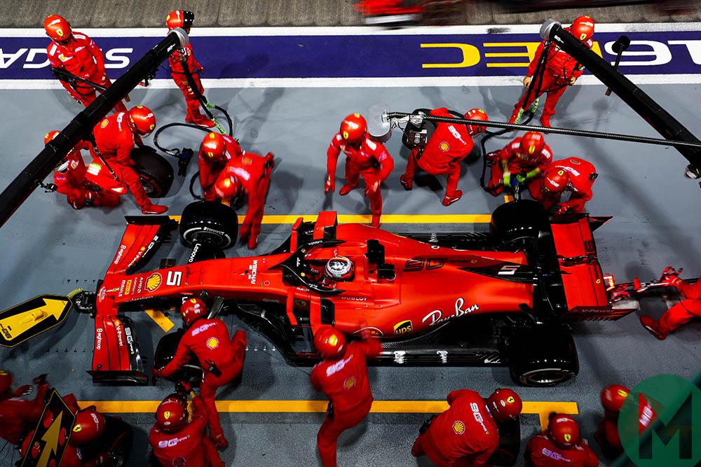 Sebastian Vettel makes his only pitstop at the 2019 F1 Singapore Grand Prix